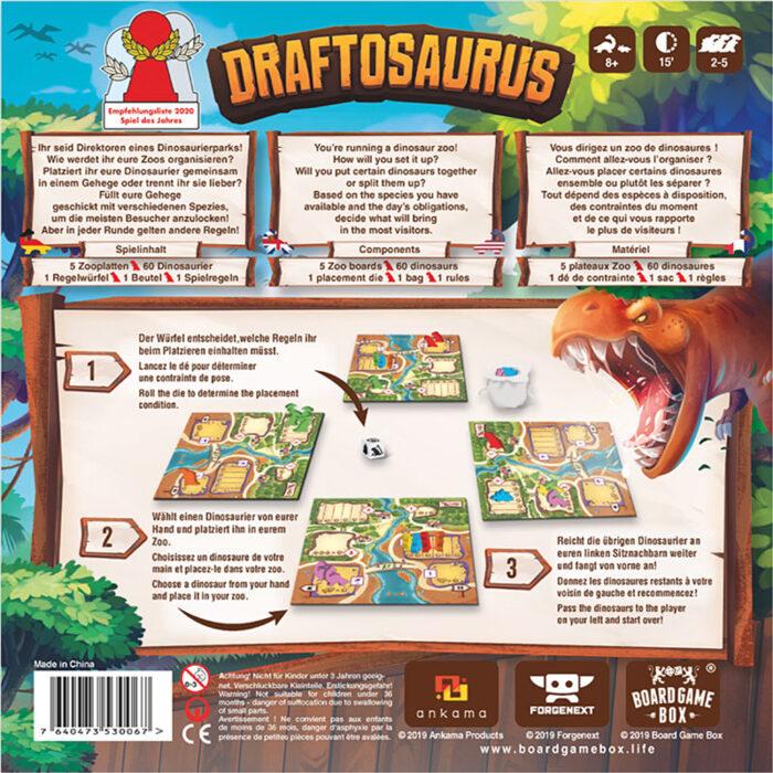 Draftosaurus Schachtelrückseite