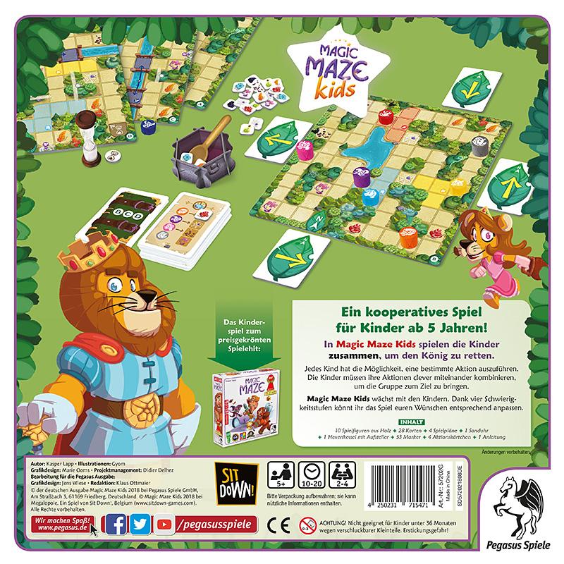 Rückseite der Schachtel von Magic Maze Kids